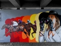 The official Hessentag wall 2012 in Wetzlar, painted by 3Steps and Mord182, about 6 m high and over 15 m long.