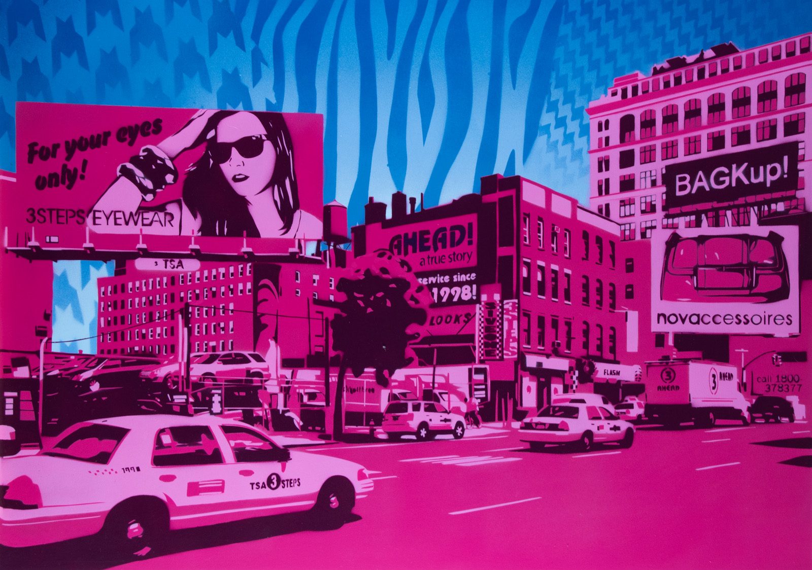 3Steps |  Ahead studio show | Street ads pink blue | 70x100
