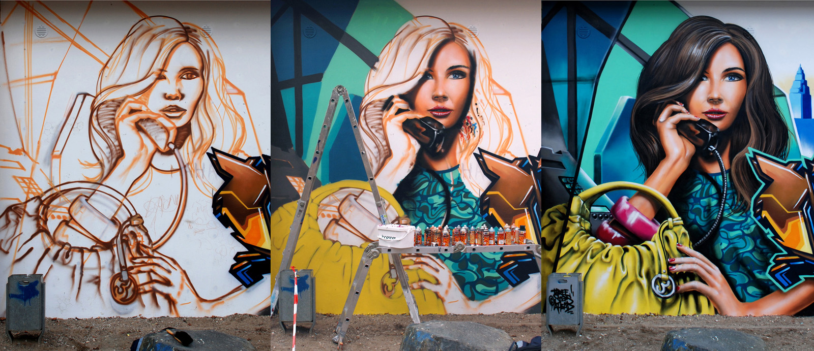 The image shows a collage of New Yorker cityscapes, a yellow taxi cab, a girl giving a phone call and classical graffiti styles from SiveOne and Doc Nova. Painted during September 2009 in Wetzlar.