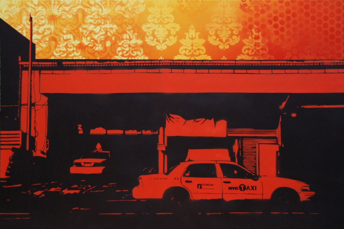 Spraypaint with stencils on canvas, 80x120 cm, handpainted by DocNova.